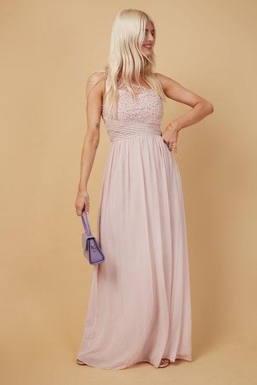 Little Mistress Pink Bridesmaid Luanna Blush Embellishment One-Shoulder Maxi Dress