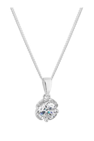 Simply Silver Sterling Silver 925 White Cubic Zirconia Short Pendant Necklace - Gift Boxed