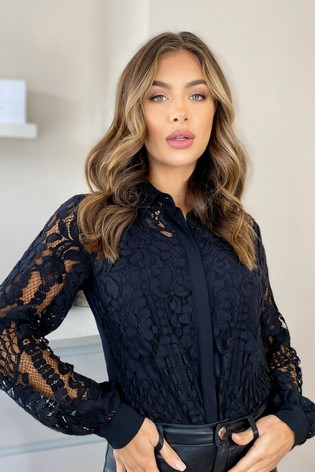 Lipsy Black VIP Lace Shirt