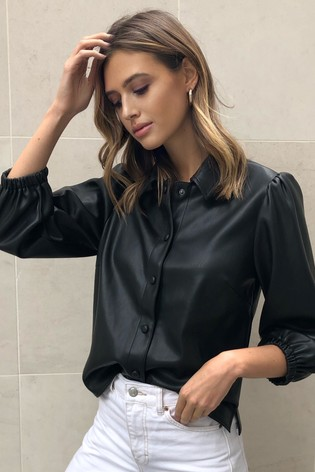 Lipsy Black Faux Leather Shirt