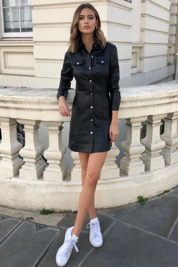 Lipsy Black faux Leather Shirt Dress