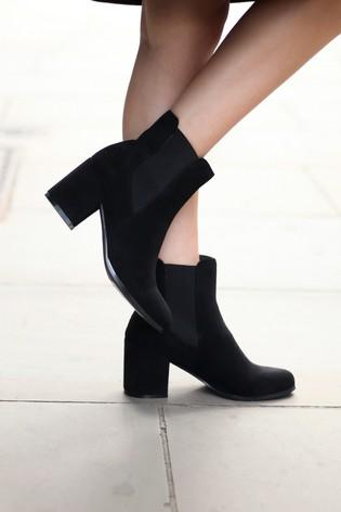 Linzi Black Suedette Dua Block Heel Pull On Chelsea Boot