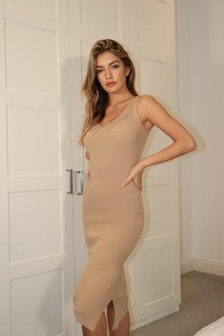 Lipsy Camel Rib Knitted V Neck Midi Dress