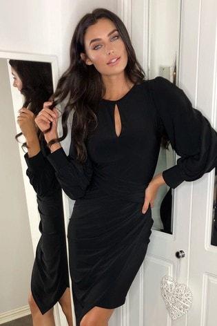 Lipsy Black Long Sleeve Slinky Bodycon Dress
