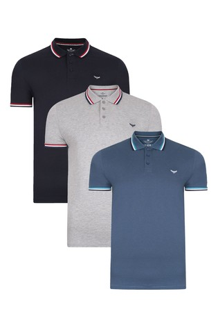Threadbare Black and Blue Polo T-Shirt Pack Of 3