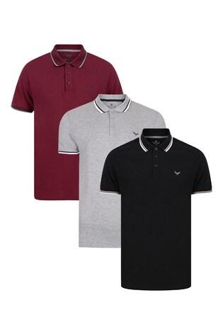 Threadbare Grey Polo T-Shirt Pack Of 3
