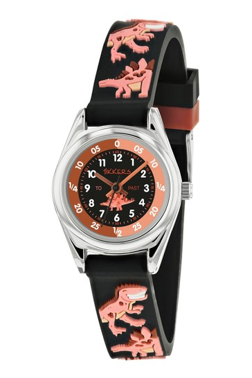 Tikkers Black Time Teacher Kids Watch With Metal Casing