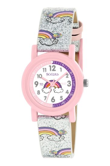 Tikkers Silver Time Teacher Kids Watch With 26mm Plastic Casing