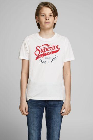 Jack & Jones Junior White Authentic Logo T-Shirt