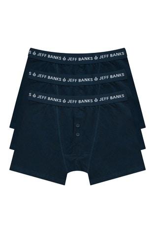 Jeff Banks Navy Mens 3 Pack Multipack Boxers