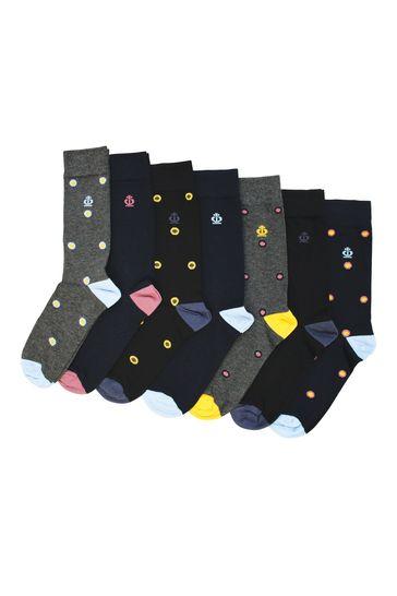 Jeff Banks Grey Mens 7 Pack Multipack Socks