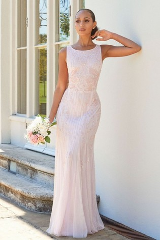 Sistaglam Pink Gracey High Neck Maxi Dress with Mesh Inserts