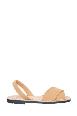 Palmaira Sandals Tan Nubuck Crossover Peeptoe Sandal