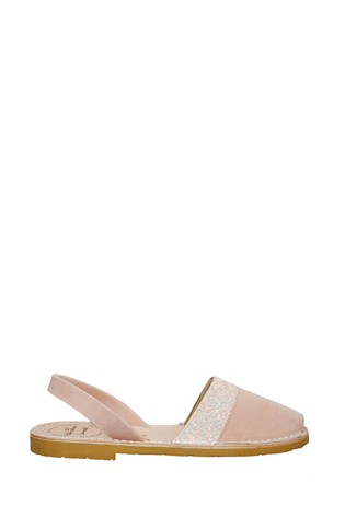 Palmaira Sandals Pink Nubuck with a Gunmetal Backstrap