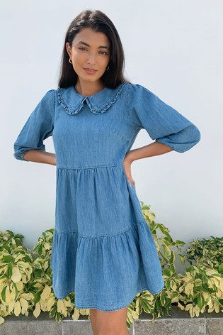 Lipsy Blue Denim Collared Smock Dress