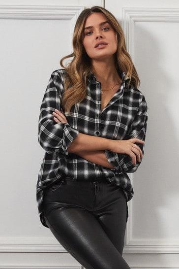 Lipsy Black Check Regular Oversized Shirt
