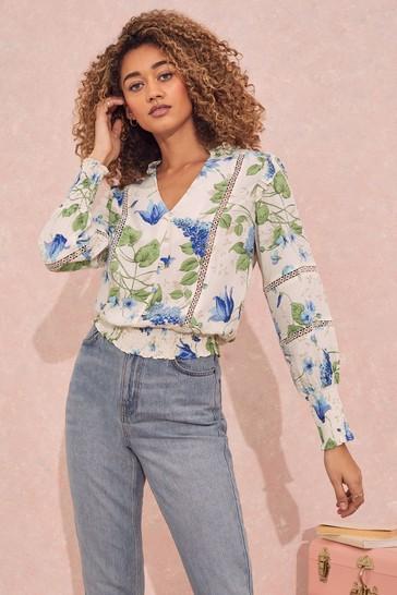 Love & Roses White And Blue Regular Shirred Hem Lace Trim Blouse