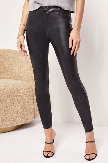 Lipsy Faux Leather Black High Rise Skinny Selena Jean Long Length