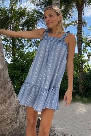 Lipsy Blue Tie Strap Trapeze Dress