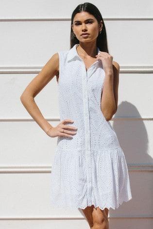 Lipsy White Broderie Sleevless Frill Shirt Dress