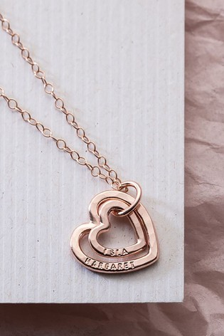 Personalised Mummy And Baby Heart Necklace by Posh Totty Designs