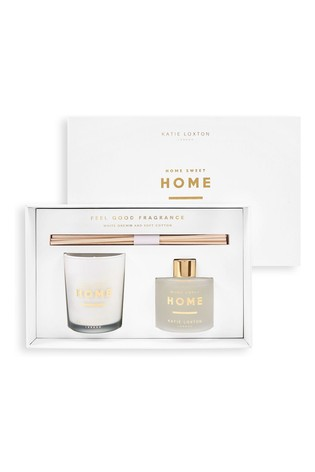 Katie Loxton Sentiment Mini Fragrance Set   Home Sweet Home   White Orchid and Soft Cotton   62g Candle 50ml Diffuser