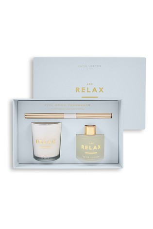 Katie Loxton Sentiment Mini Fragrance Set   And Relax   White Orchid and Soft Cotton   62g Candle 50ml Diffuser