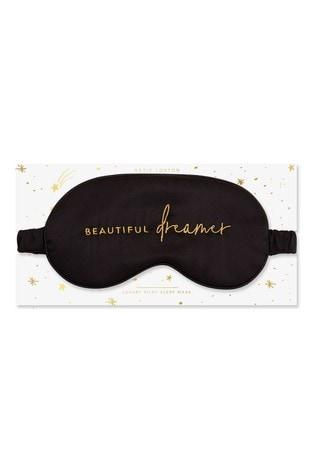 Katie Loxton Satin Eye Mask | Beautiful Dreamer | Black | 11 x 21.5cm