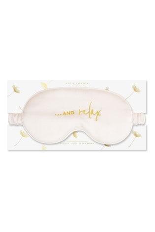 Katie Loxton Satin Eye Mask    And Relax   White   11 x 21.5cm
