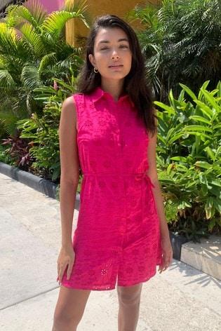 Lipsy Pink Printed Sleeveless Shirt Dress