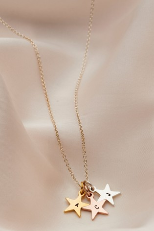 Personalised Tricolore Stars Necklace by Posh Totty