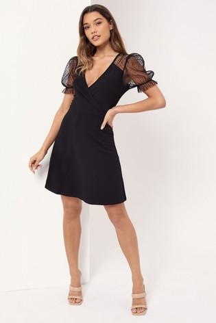 Lipsy Black Dobby Sleeve Wrap Dress