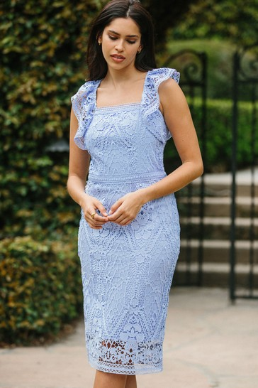 Lipsy Cornflower Blue Lace Bodycon Midi Dress