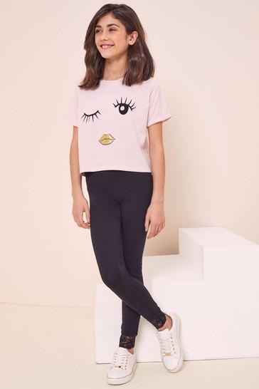 Lipsy Pink Eyelash T Shirt And Legging Set