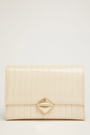 Quiz Neutral Faux Croc Across Body Bag With Chunky Chain Detailing