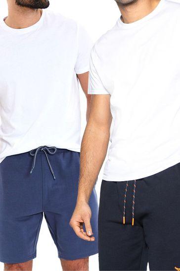 Threadbare Navy 2 Pack Bergamot Sweat Shorts