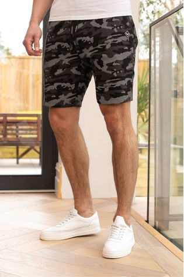 Threadbare Grey Lukan Camo Print Sweat Shorts