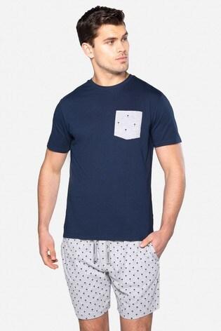 Threadbare Navy Louie Cotton Pyjama Set
