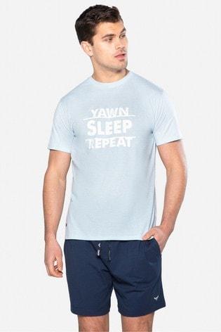 Threadbare Blue Vance Cotton Pyjama Set