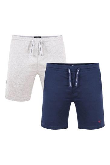 Threadbare Navy Grey Marl 2 Pack Robin Cotton Pyjama Shorts