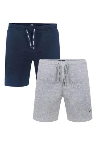 Threadbare navygrey marl 2 Pack Beckett Cotton Pyjama Shorts