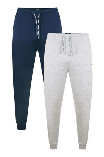 Threadbare Navy Grey Marl 2 Pack Rudy Cotton Pyjama Trousers