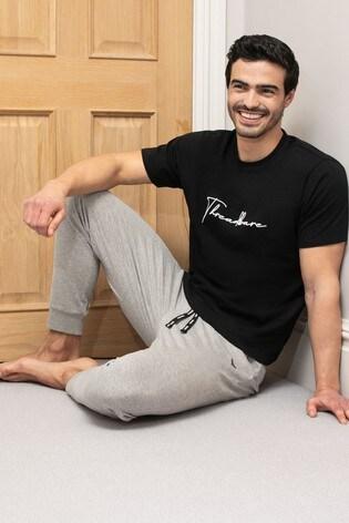 Threadbare Black Shannon Cotton Pyjama Set