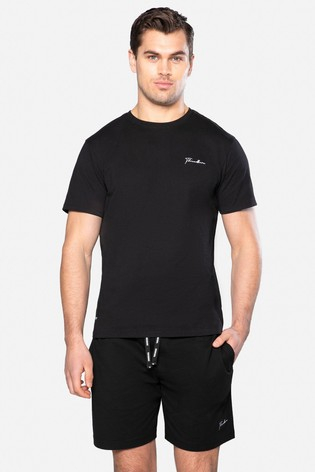 Threadbare Black Whatts Cotton Pyjama Set