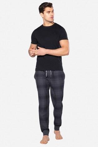 Threadbare Black Bollard Cotton Pyjama Set