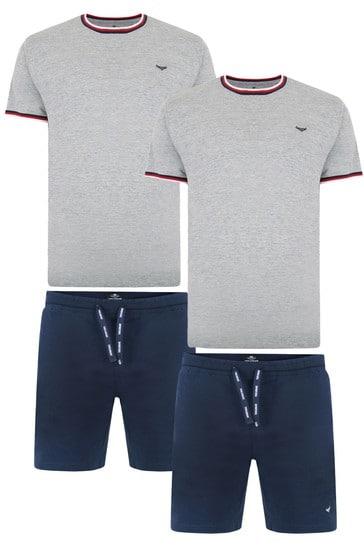 Threadbare navygrey marl 2 Pack Summit Cotton Pyjama Sets