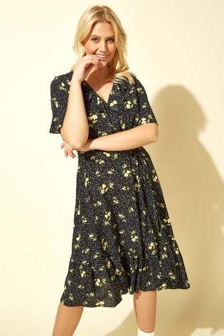 Roman Black Floral Spot Wrap Midi Dress