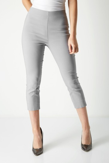 Roman Light Grey Cropped Stretch Trouser