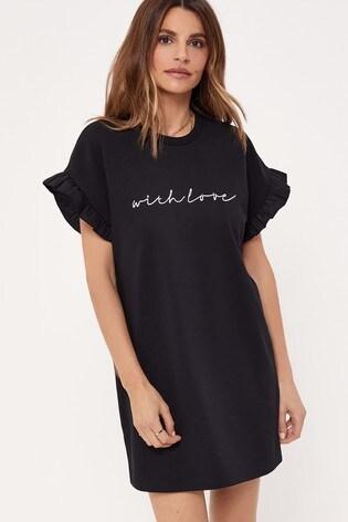 Lipsy Black Frill Sleeve Tee Dress