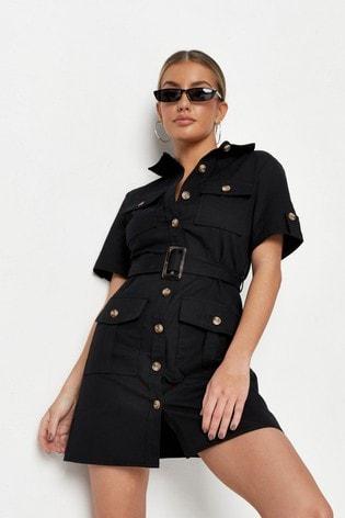 Missguided Black Utility Pocket Belted Shirt Dress